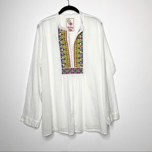 Johnny Was Embroidered White Tunic Blouse Top XL